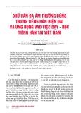 Chữ Hán đa âm thường dùng trong tiếng Hán hiện đại và ứng dụng vào việc dạy - học tiếng Hán tại Việt Nam