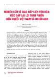 Nghiên cứu về giao tiếp liên văn hóa: Việc đáp lại lời than phiền giữa người Việt Nam và người Anh