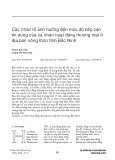 Các nhân tố ảnh hưởng đến mức độ tiếp cận tín dụng của cá nhân hoạt động thương mại ở địa bàn nông thôn tỉnh Bắc Ninh