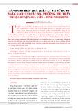 Nâng cao hiệu quả quản lý và sử dụng ngân sách tại các xã, phường, thị trấn thuộc huyện Gia Viễn - tỉnh Ninh Bình