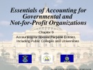 Lecture Essentials of accounting for governmental and not-for-profit organizations (12/e) – Chapter 9: Accounting for special purpose entities, including public colleges and universities