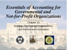 Lecture Essentials of accounting for governmental and not-for-profit organizations (12/e) – Chapter 13: Auditing; tax-exempt organizations; and performance evaluation: Auditing; tax-exempt organizations; and performance evaluation