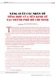 Năng suất các nhân tố tổng hợp của nền kinh tế tại thành phố Hồ Chí Minh
