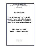 Luận án tiến sĩ Kinh tế: Vai trò của hợp tác xã nông nghiệp trong liên kết xây dựng cánh đồng lớn sản xuất lúa ở vùng Đồng bằng sông Cửu Long