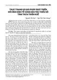 Thực trạng và giải pháp phát triển mô hình kinh tế vùng dân tộc thiểu số tỉnh Thừa Thiên Huế