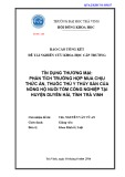 Báo cáo nghiên cứu khoa học cấp trường: Tín dụng thương mại: phân tích trường hợp mua chịu thức ăn, thuốc thú y thủy sản của nông hộ nuôi tôm công nghiệp tại huyện Duyên Hải, tỉnh Trà Vinh