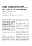 Compact wide band and low mutual coupling MIMO metamaterial antenna using CPW feeding for LTE/Wimax applications