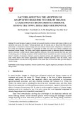 Factors affecting the adoption of adaptation measures to climate change: A case study in Huong Phong commune, Huong Tra town, Thua Thien Hue province