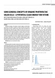 Some general concepts of organic photovoltaic solar cells - a potential clean energy for future