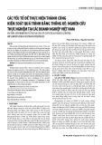 Các yếu tố để thực hiện thành công kiểm soát quá trình bằng thống kê: Nghiên cứu thực nghiệm tại các doanh nghiệp Việt Nam
