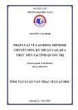 Tóm tắt Luận văn thạc sĩ Luật học: Pháp luật về lao động trình độ chuyên môn, kỹ thuật cao, qua thực tiễn tại tỉnh Quảng Trị