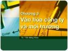 Bài giảng Quản trị học - Chương 3: Văn hóa công ty và môi trường (Trần Đăng Khoa)