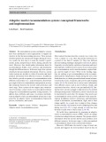 Adaptive tourist recommendation system: Conceptual frameworks and implementations