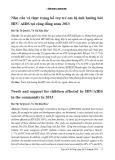 Nhu cầu và thực trạng hỗ trợ trẻ em bị ảnh hưởng bởi HIV/ AIDS tại cộng đồng năm 2013