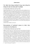 Xác định hàm lượng methanol trong rượu trắng lưu thông trên địa bàn thành phố Nam Định