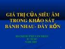 Bài giảng Giá trị của siêu âm trong khảo sát bánh nhau, dây rốn - CKII.BS. Huỳnh Văn Nhàn