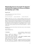 Relationship between economic development and social development in process of reform and opening up in China