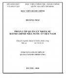 Tóm tắt luận án Tiến sĩ Quản lý Hành chính công: Phân cấp quản lý nhân sự hành chính nhà nước ở Việt Nam