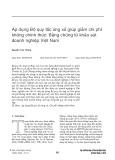 Áp dụng Bộ quy tắc ứng xử giúp giảm chi phí không chính thức: Bằng chứng từ khảo sát doanh nghiệp Việt Nam