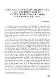 """Cộng việc """"Dẫn gió bốn phương"""" vào văn học đầu thế kỷ 20 và vấn đề bản lĩnh tiếp nhận của văn hóa Việt Nam"""