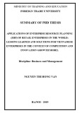 Summary of PhD thesis: Applications of enterprise resource planning (ERP) of retail enterprises in the world: Lessons learned and solutions for Vietnamese enterprises in the context of competition and innovation growth model