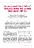 """Sự chuyển nghĩa của từ """"Mê/មេ"""" trong tiếng Khmer dưới góc nhìn ngôn ngữ học tiếp xúc"""