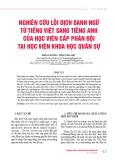 Nghiên cứu lỗi dịch danh ngữ từ tiếng Việt sang tiếng Anh của học viên cấp phân đội tại Học viện Khoa học Quân sự