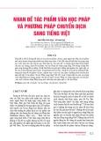 Nhan đề tác phẩm văn học Pháp và phương pháp chuyển dịch sang tiếng Việt