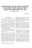 Chính phủ nước Việt Nam Dân chủ Cộng hòa với sự nghiệp văn hóa, giáo dục thời kỳ kháng chiến chống Pháp (1945-1954) (tiếp theo và hết)