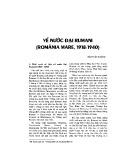 Về nước Đại Rumani (ROMÂNIA MARE, 1918-1940)