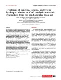 Treatment of benzene, toluene, and xylene by deep oxidation on CuO catalytic materials synthesised from red mud and rice husk ash