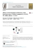 Effects of electromagnetic interference on the functional usage of medical equipment by 2G/3G/ 4G cellular phones: A review
