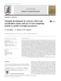 Strength development in concrete with wood ash blended cement and use of soft computing models to predict strength parameters