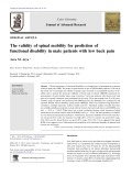 The validity of spinal mobility for prediction of functional disability in male patients with low back pain