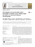 Determination of kresoxim-methyl and its thermolabile metabolites in pear utilizing pepper leaf matrix as a protectant using gas chromatography