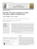 Knowledge of emergency management of avulsed teeth among a sample of Egyptian parents