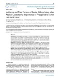 Incidence and risk factors of acute kidney injury after radical cystectomy: Importance of preoperative serum uric acid level