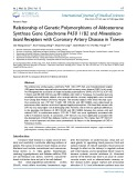 Relationship of genetic polymorphisms of aldosterone synthase gene Cytochrome P450 11B2 and Mineralocorticoid receptors with coronary artery disease in Taiwan
