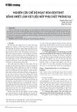 Nghiên cứu chế độ hoạt hóa bentonit bằng nhiệt làm vật liệu hấp phụ chất phóng xạ