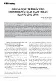 Giải pháp phát triển bền vững khu sinh quyển Cù Lao Chàm - Hội An dựa vào cộng đồng