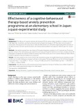 Effectiveness of a cognitive behavioural therapy-based anxiety prevention programme at an elementary school in Japan: A quasi-experimental study