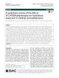 A systematic review of the effects of CYP2D6 phenotypes on risperidone treatment in children and adolescents
