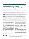 Use of electroconvulsive therapy in adolescents with schizophrenia in China