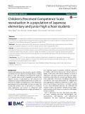 Children's Perceived Competence Scale: Reevaluation in a population of Japanese elementary and junior high school students