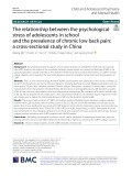 The relationship between the psychological stress of adolescents in school and the prevalence of chronic low back pain: A cross-sectional study in China