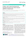 Children with mixed developmental language disorder have more insecure patterns of attachment