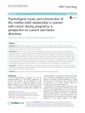 Psychological issues and construction of the mother-child relationship in women with cancer during pregnancy: A perspective on current and future directions