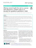 Offering mental health first aid to a person with depression: A Delphi study to redevelop the guidelines published in 2008