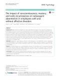 The impact of conscientiousness, mastery, and work circumstances on subsequent absenteeism in employees with and without affective disorders