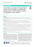 Psychometric properties of the self-report version of the strengths and difficulties questionnaire in the Ecuadorian context: An evaluation of four models